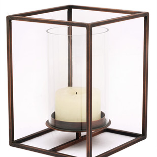 Cuboid Candle Holder in Antique Copper - Large Candle Stand By The Lohasmith