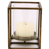 The lohasmith   cuboid candle holder in antique brass   small