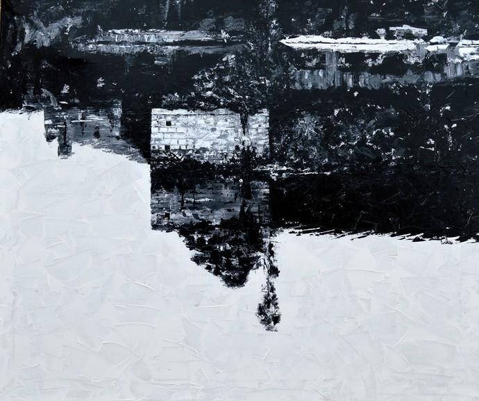 Fathomless by Usha Shantharam, Impressionism Painting, Acrylic on Canvas, Blue color