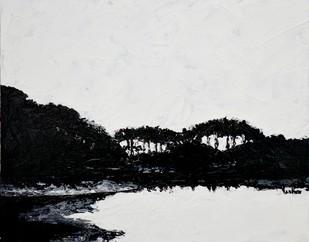 Lake Reflections 2 by Usha Shantharam, Impressionism Painting, Acrylic on Board, Gray color