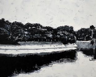 Lake Reflections 3 by Usha Shantharam, Impressionism Painting, Acrylic on Board, Gray color