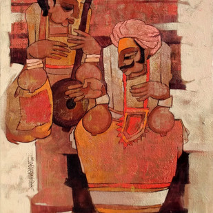 jogva21 by Sarang Waghmare, Expressionism Painting, Acrylic on Canvas, Brown color