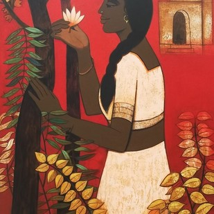 Puja by Nagesh Ghodke, Expressionism Painting, Acrylic on Canvas, Brown color