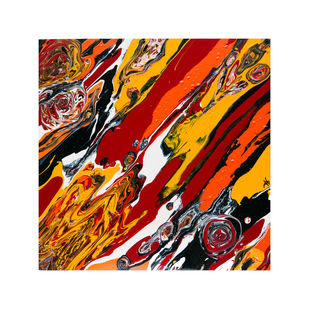Primal Flux X by Anu Malhotra, Abstract Painting, Acrylic on Canvas, Brown color