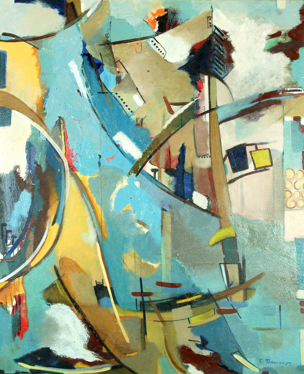 Flood Waters by F Tarannum, Illustration Painting, Oil on Canvas, Beige color