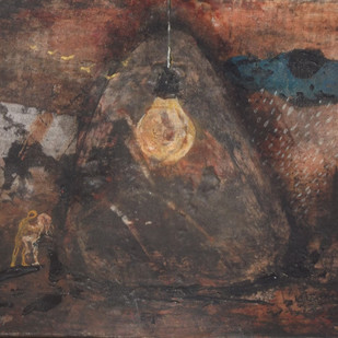 The Dream by Upayan Bardhan, Expressionism Painting, Mixed Media on Board, Brown color