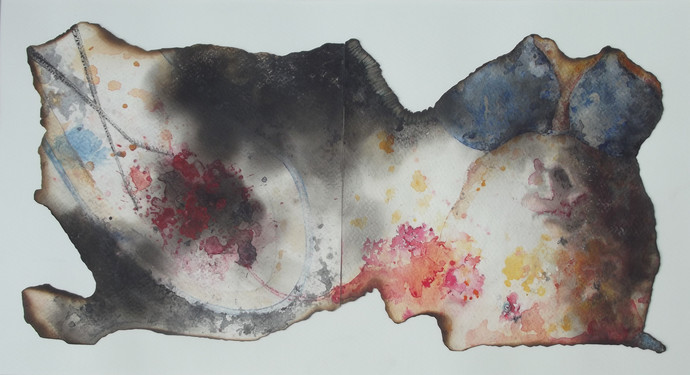 Taken away by Upayan Bardhan, Abstract Painting, Watercolor on Paper, Gray color