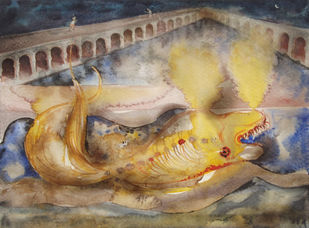 The fish by Upayan Bardhan, Conceptual, Expressionism Painting, Watercolor on Paper, Brown color