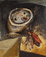 The flower and cockroach by Upayan Bardhan, Conceptual, Expressionism Painting, Mixed Media on Canvas, Brown color
