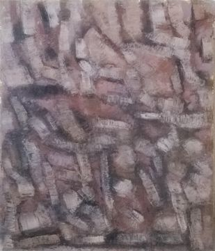 Untitled III by Santosh Shirsat, Abstract Painting, Oil on Canvas, Brown color