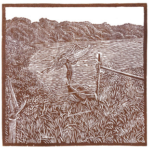 Paguerre by Conrad Pinto, Impressionism Printmaking, Wood Cut on Paper, Brown color