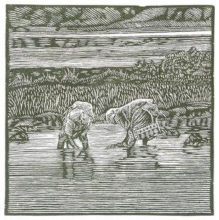 Noddnim by Conrad Pinto, Impressionism Printmaking, Wood Cut on Paper, Gray color