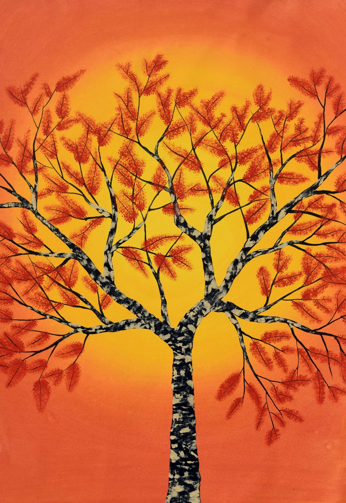 Sambharv by Sumit Mehndiratta, Decorative Painting, Acrylic on Canvas, Orange color
