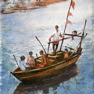 Boat by Ananda Ahire, Impressionism Painting, Watercolor on Paper, Gray color