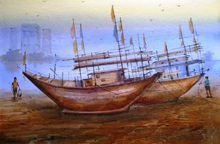 Boats by Ananda Ahire, Impressionism Painting, Watercolor on Paper, Brown color
