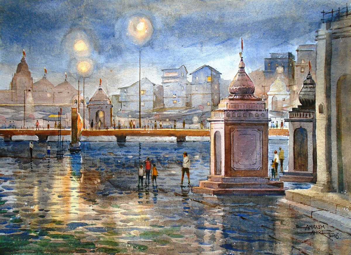 Godavari Nashik by Ananda Ahire, Impressionism Painting, Watercolor on Paper, Brown color