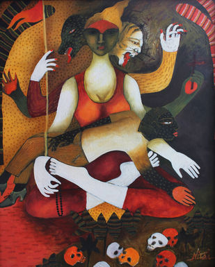 Rupkunda by Nitai Das, Expressionism Painting, Acrylic on Canvas, Brown color