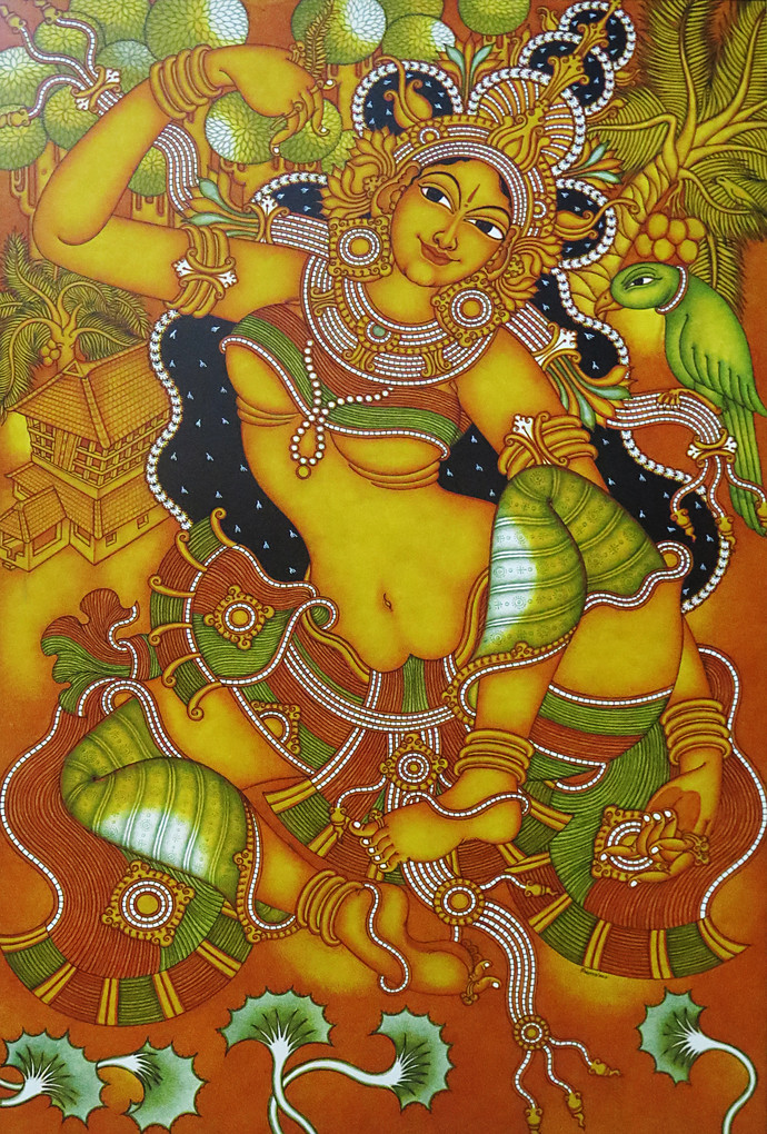 Kerala Mural Lady With Parrot By Unknown Artist
