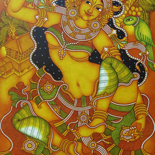 Kerala Mural Lady with Parrot by Unknown Artist, Traditional Painting, Acrylic on Canvas, Brown color