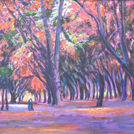 Love In Lal Bagh 1 by Usha Shantharam, Impressionism Painting, Acrylic on Board, Brown color
