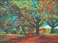 Love In Lal Bagh 2 by Usha Shantharam, Impressionism Painting, Acrylic on Board, Green color