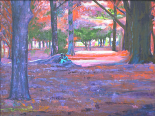 Love in Lal Bagh 3 by Usha Shantharam, Impressionism Painting, Acrylic on Board, Purple color