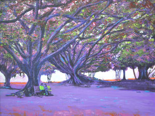 Love In Lal Bagh 4 by Usha Shantharam, Impressionism Painting, Acrylic on Board, Blue color