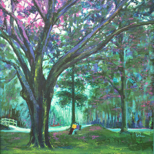 Love In Lal Bagh 5 by Usha Shantharam, Impressionism Painting, Acrylic on Board, Green color
