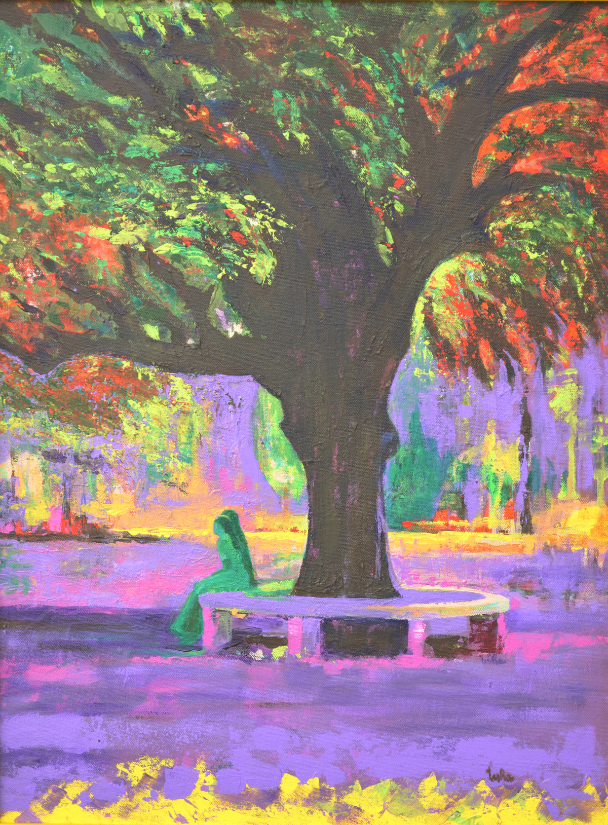 Love In Lal Bagh by Usha Shantharam, Impressionism Painting, Acrylic on Board, Brown color