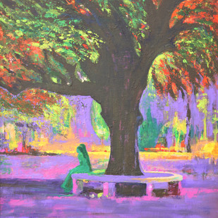 Love In Lal Bagh Digital Print by Usha Shantharam,Impressionism