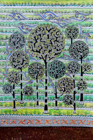 Madhubani Painting by Unknown Artist, Folk Painting, Acrylic on Paper, Green color