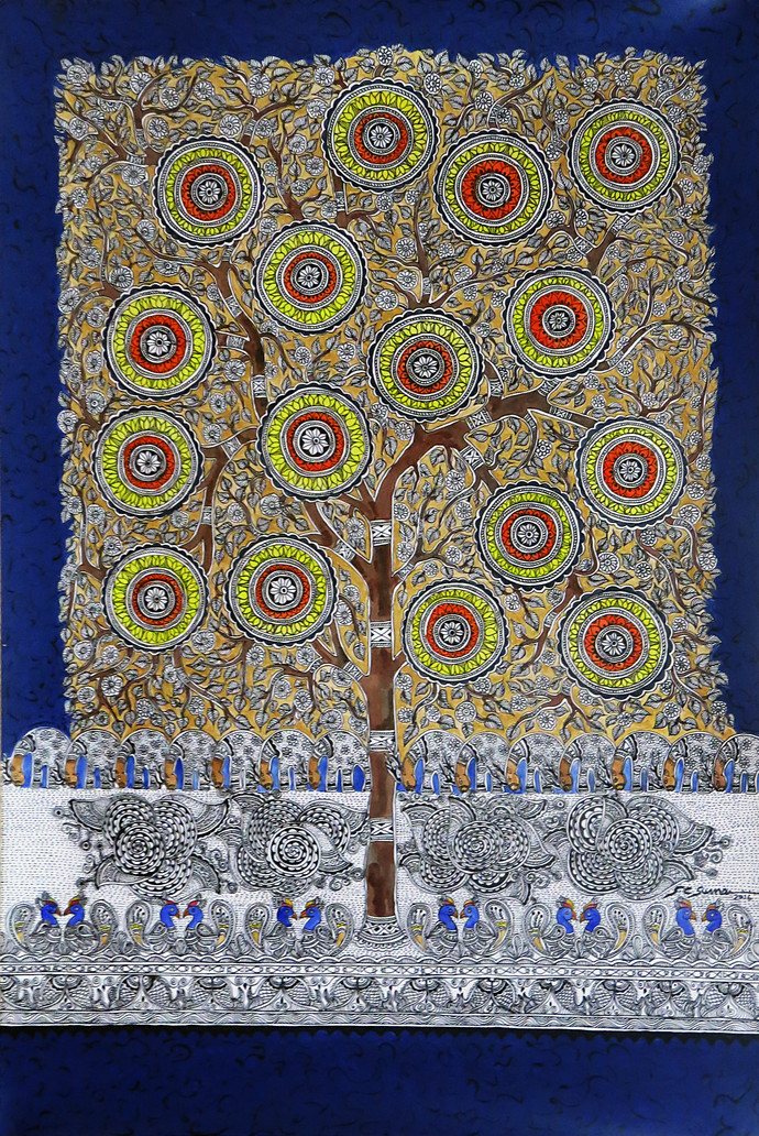 Madhubani Painting Tree of life by Unknown Artist, Folk Painting, Acrylic on Paper, Brown color