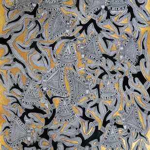 Madhubani Painting,Tree of life by Unknown Artist, Folk Painting, Acrylic on Paper, Gray color