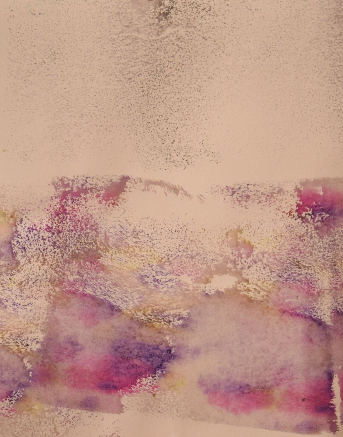 Speckled Scapes (No.35) by Mahesh Sharma, Abstract Painting, Acrylic on Paper, Beige color