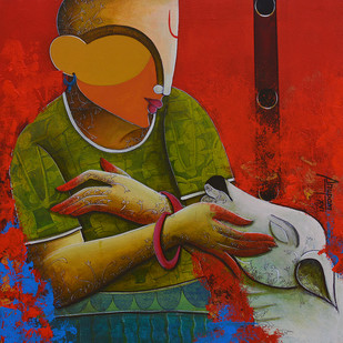 Rhythmic conversation by anupam pal, Expressionism Painting, Acrylic on Canvas, Brown color