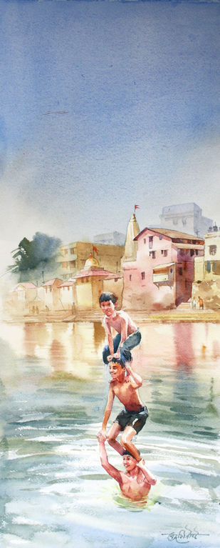 Chilling at Banganga by Vikrant Shitole, Impressionism Painting, Watercolor on Paper, Beige color