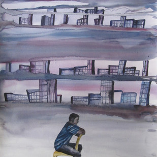 Untitled by Raghu Kondur, Expressionism Painting, Watercolor on Paper, Beige color
