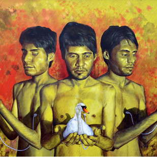 sync emotions by Kunal Jain, Expressionism Painting, Acrylic & Ink on Canvas, Brown color