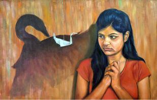 Belief in love by Kunal Jain, Expressionism Painting, Oil on Canvas, Brown color