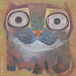 The Cat by Atish Mukherjee, Expressionism Painting, Tempera on Canvas, Brown color