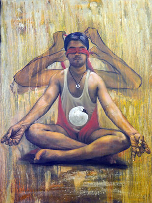 focus on desire by Kunal Jain, Expressionism Painting, Oil on Canvas, Brown color