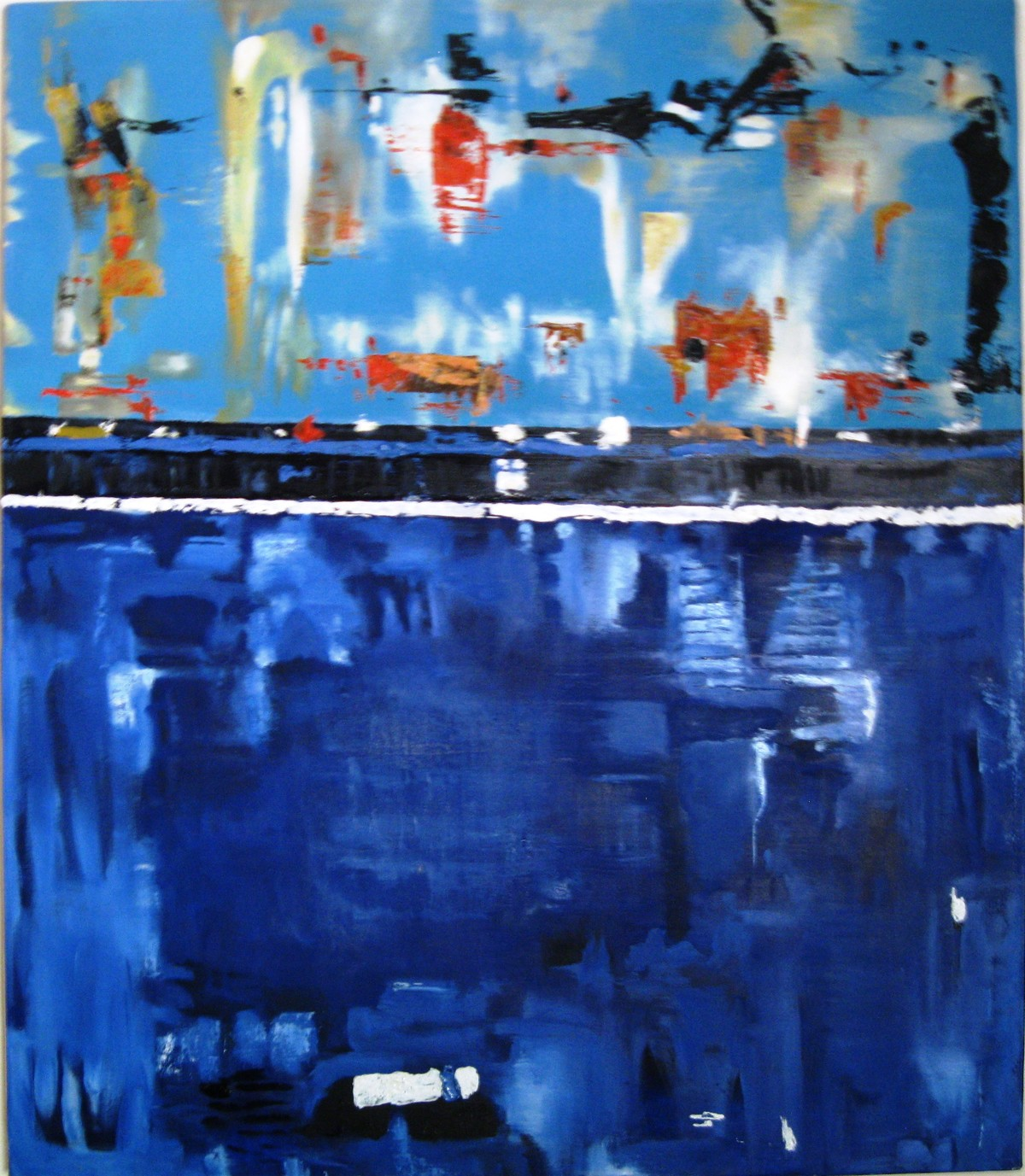 abstract series by Vineeta Vadhera, Abstract Painting, Oil on Canvas, Blue color