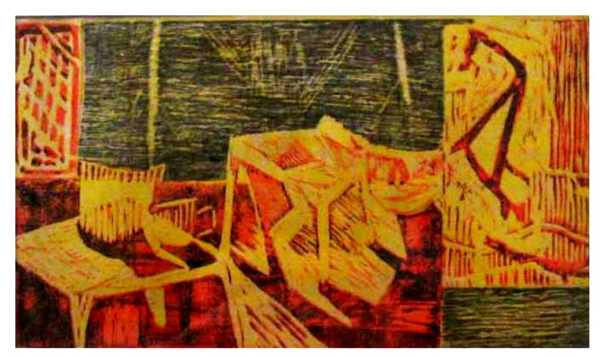 room and nature by Vineeta Vadhera, Impressionism Painting, Wood Cut on Paper, Brown color