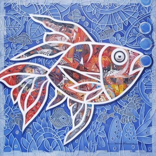 Fish by Dhiren Sasmal, Decorative Painting, Acrylic on Canvas, Cyan color