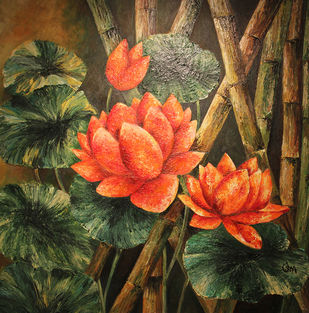 LOVELY LOTUS by Usha Elangovan, Impressionism Painting, Acrylic on Canvas, Brown color