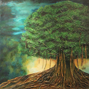 BANYAN TREE by Usha Elangovan, Impressionism Painting, Mixed Media on Canvas, Green color