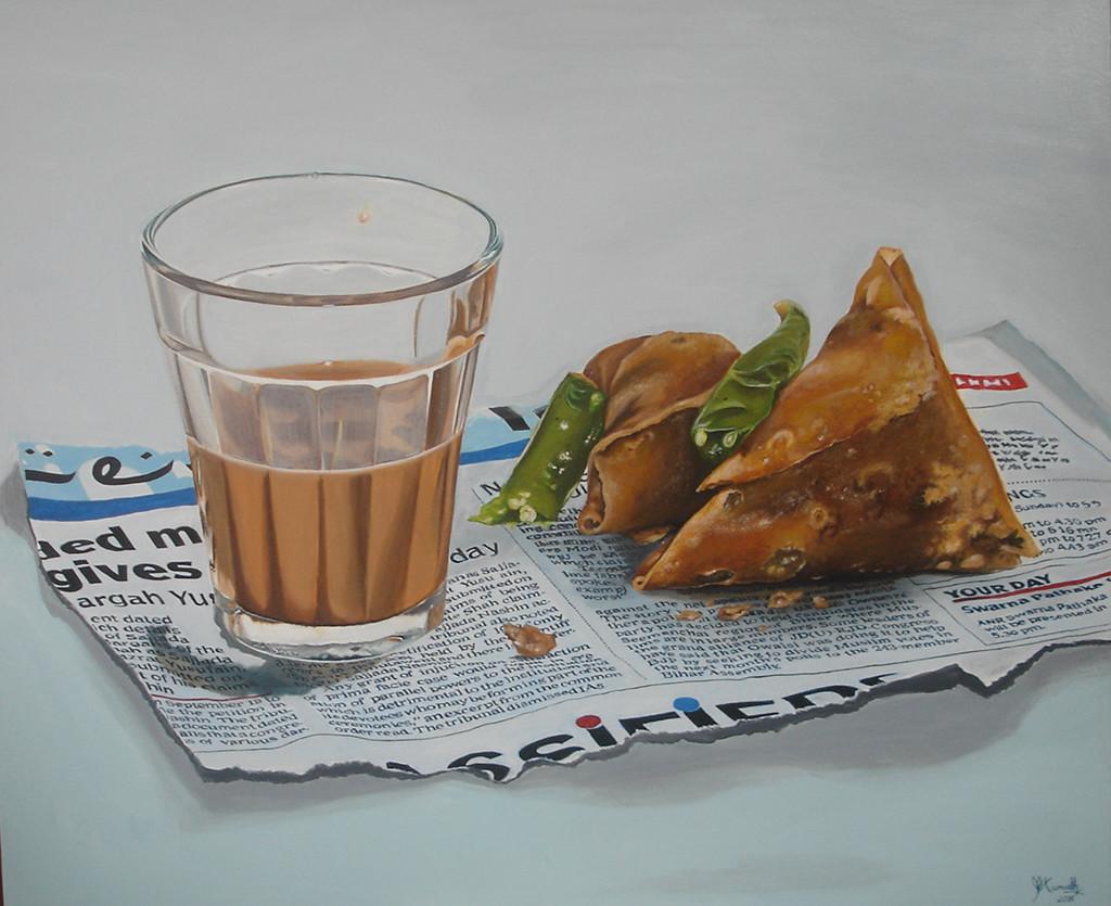 CHAI SAMOSA by Kumudini Bhaskaran, Realism Painting, Acrylic on Canvas, Gray color
