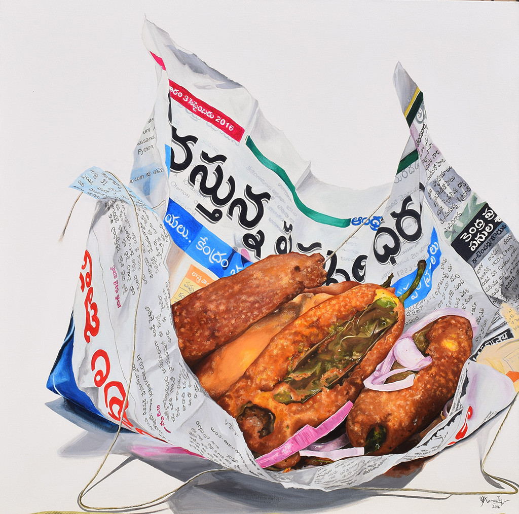 MIRCHI by Kumudini Bhaskaran, Realism Painting, Acrylic on Canvas, Gray color