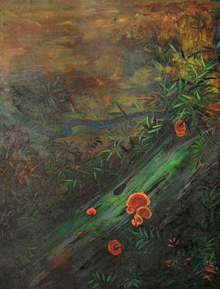 KOLLI & RED MUSHROOMS by Bhavani GS, Impressionism Painting, Acrylic on Canvas, Green color