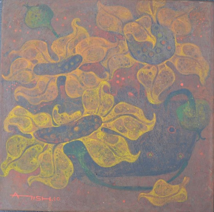 Yellow flowers by Atish Mukherjee, Impressionism Painting, Tempera on Canvas, Brown color
